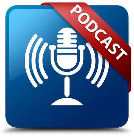 Podcast glossy blue square button photo