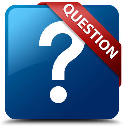 Question glossy blue square button photo