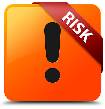 alert ribbon: Risk (warning icon) glossy yellow square button Stock Photo