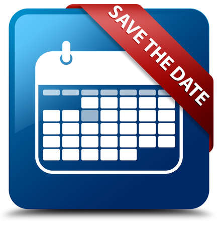 red ribbon week: Save the date glossy blue square button