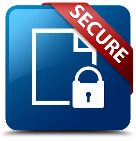 encrypted files icon: Secure document glossy blue square button