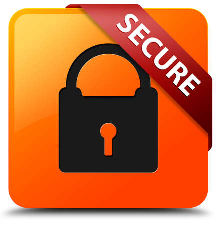 Secure glossy yellow square button photo