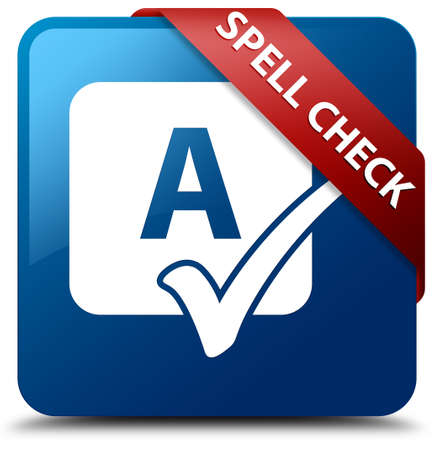 Spell check glossy blue square button photo
