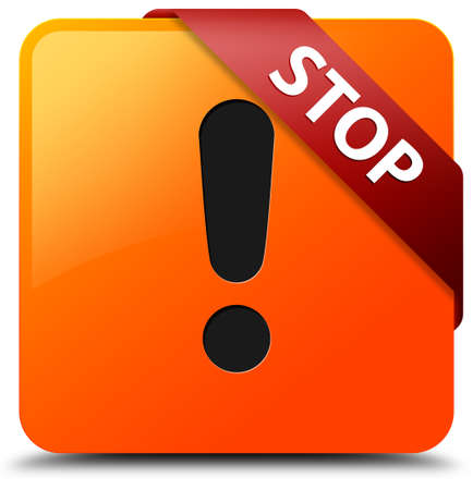 Stop (warning icon) glossy yellow square button photo