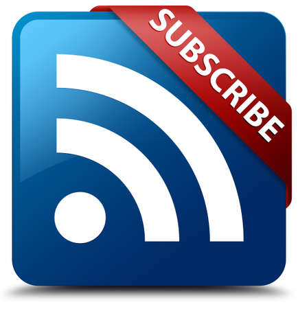 Subscribe (rss icon) glossy blue square button photo