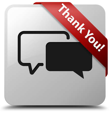 buble: Thank you! (talk buble icon) glossy white square button Stock Photo