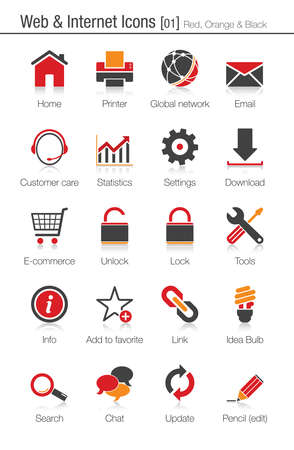 Web & Internet icons set 01 (red, orange and black)