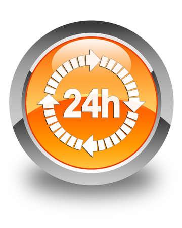 24 hours: 24 hours delivery icon glossy orange round button Stock Photo
