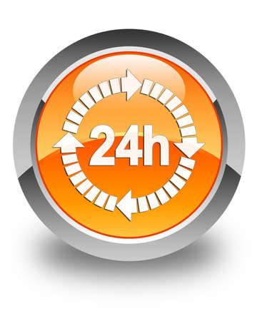 twenty four hour: 24 hours delivery icon glossy orange round button Stock Photo
