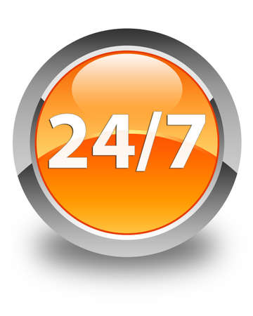 twenty four hours: 247 icon glossy orange round button Stock Photo