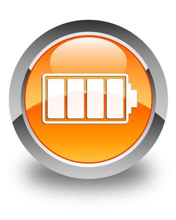 Battery icon glossy orange round button photo