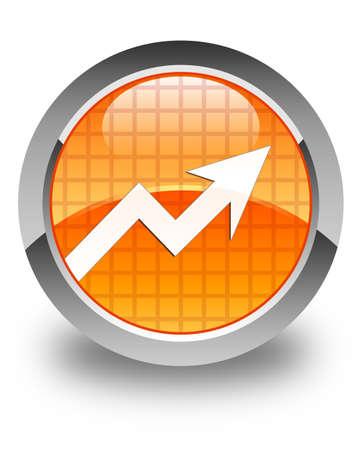Business statistics icon glossy orange round button photo