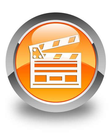Cinema clip icon glossy orange round button