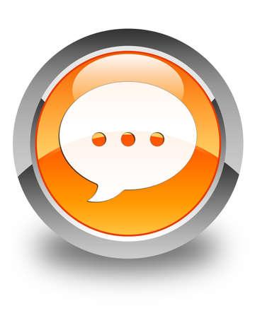 conversation icon: Conversation icon glossy orange round button