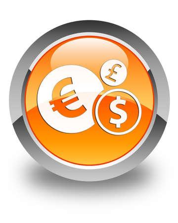 Finances icon glossy orange round button photo