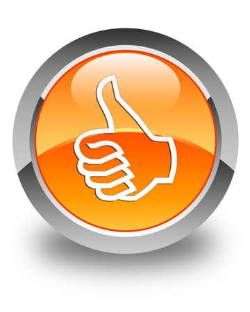 satisfied: Like icon glossy orange round button Stock Photo