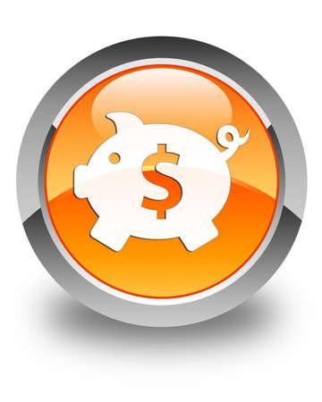 dollar sign icon: Piggy bank (dollar sign) icon glossy orange round button