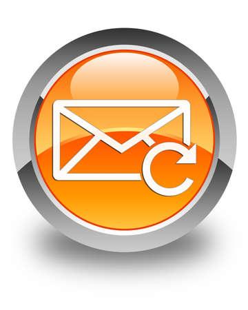 Refresh email icon glossy orange round button photo