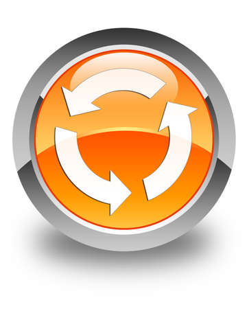 Refresh icon glossy orange round button Stock Photo