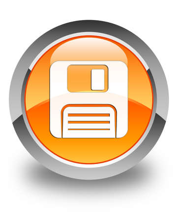 floppy disk: Floppy disk icon glossy orange round button
