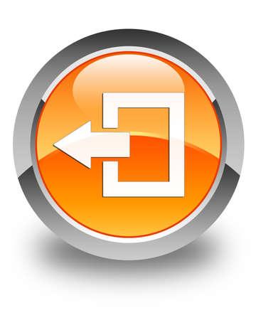 log off: Logout icon glossy orange round button Stock Photo