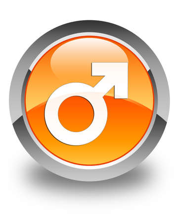 homosexual sex: Male sign icon glossy orange round button
