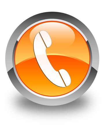 Phone icon glossy orange round button Foto de archivo