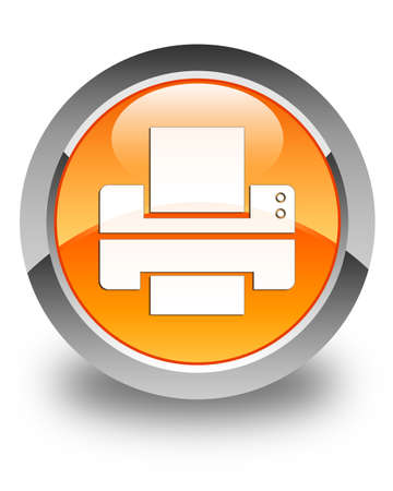 multifunction printer: Printer icon glossy orange round button
