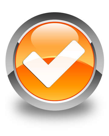 confirmed: Validate icon glossy orange round button Stock Photo