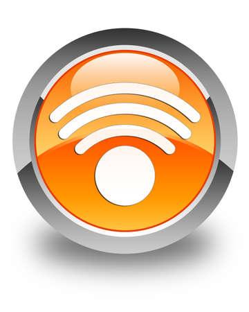 Wifi signal network icon glossy orange round button