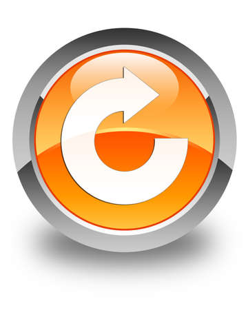 reply: Reply arrow icon glossy orange round button