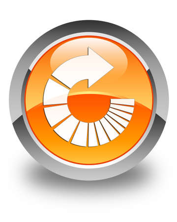 rotate: Rotate arrow icon glossy orange round button