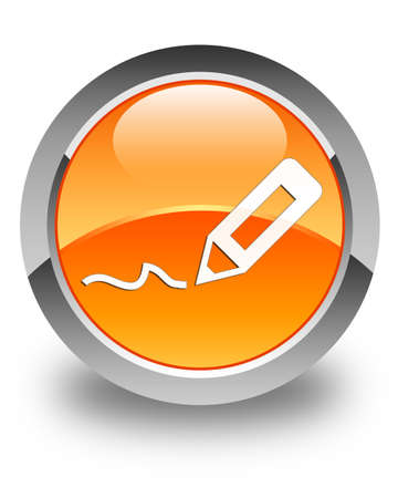 sign up icon: Sign up icon glossy orange round button