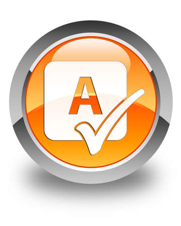 spell: Spell check icon glossy orange round button Stock Photo
