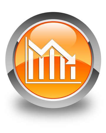 decreasing: Statistics down icon glossy orange round button