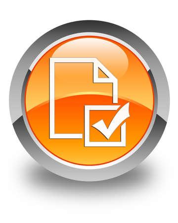 Survey icon glossy orange round button photo