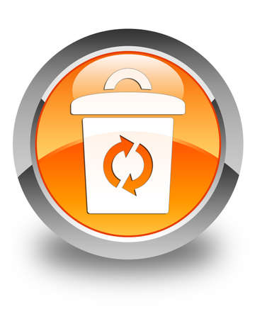 Trash icon glossy orange round button photo