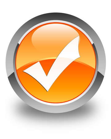 validate: Validate icon glossy orange round button Stock Photo