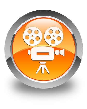 video camera icon: Video camera icon glossy orange round button Stock Photo