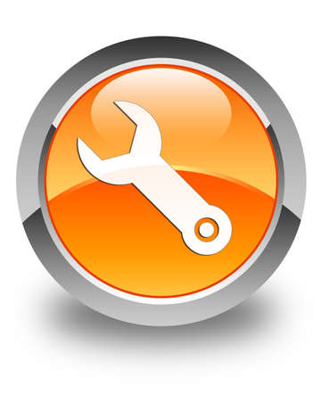 implements: Wrench icon glossy orange round button Stock Photo