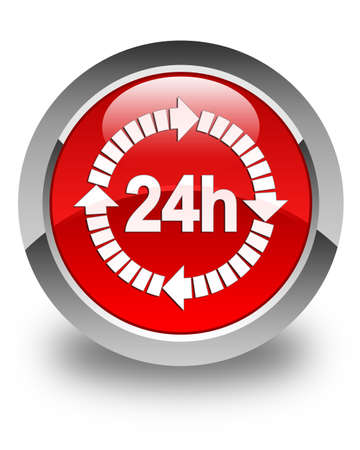 24 hours delivery icon glossy red round button photo
