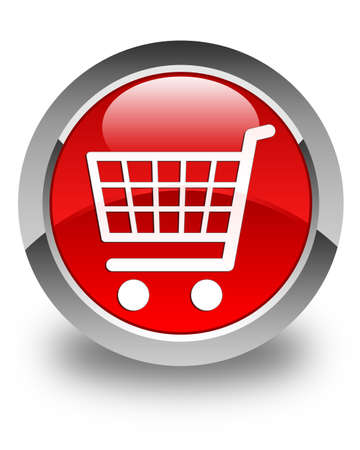 technology transaction: Ecommerce icon glossy red round button
