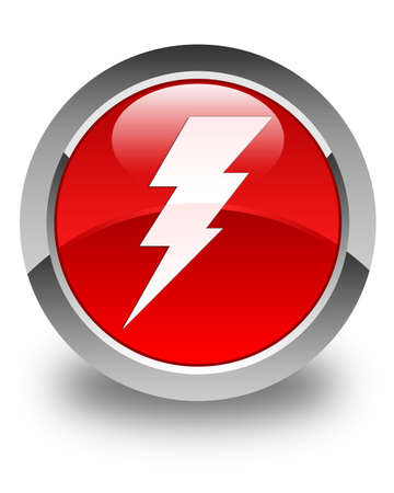 3d lightning: Electricity icon glossy red round button