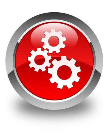 control tools: Gears icon glossy red round button