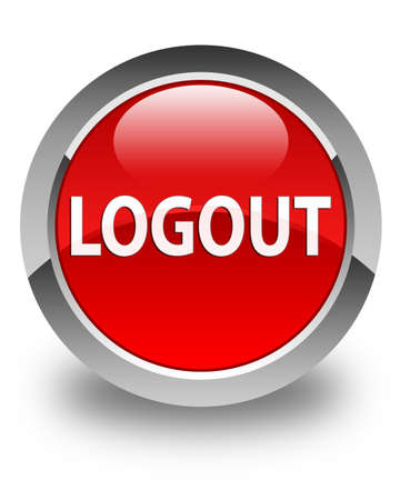 logout: Logout glossy red round button Stock Photo