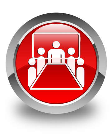 meeting room: Meeting room icon glossy red round button Stock Photo