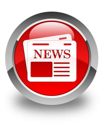 Newspaper icon glossy red round button photo