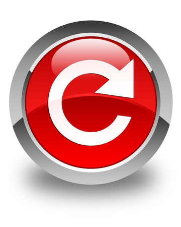 rotate icon: Reply rotate icon glossy red round button Stock Photo