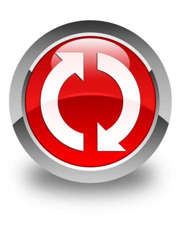 Update icon glossy red round button