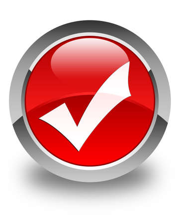 validation: Validation icon glossy red round button Stock Photo
